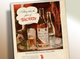 Brand identity represented by vintage branding example of old Bacardi rum ad