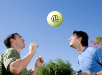 Email Response Rates and Bounces represented by two men playing catch
