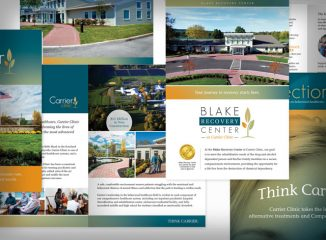 Collateral samples from First Looks' healthcare marketing client Carrier Clinic for an article on collateral design tips