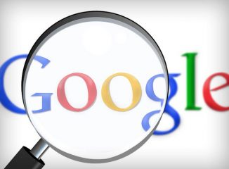 Semantic search represented by a magnifying glass on the Google logo