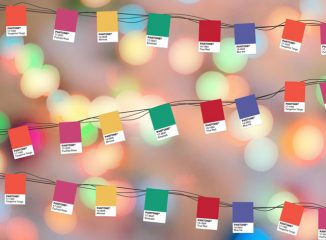 Pantone colors as a string of Christmas lights