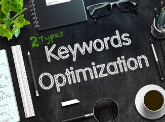 Keyword strategy and keyword optimization written on chalkboard