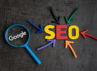 Google's RankBrain represented by a Google magnifying glass focusing on SEO