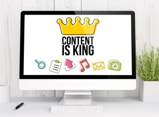 Cornerstone Content is a type of website content. This image says Content is King