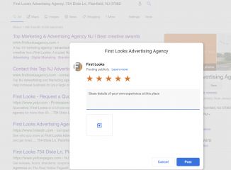 Online Ratings: 5 Ways to Get More. Here is an example of First Looks Advertising's Google Review Link